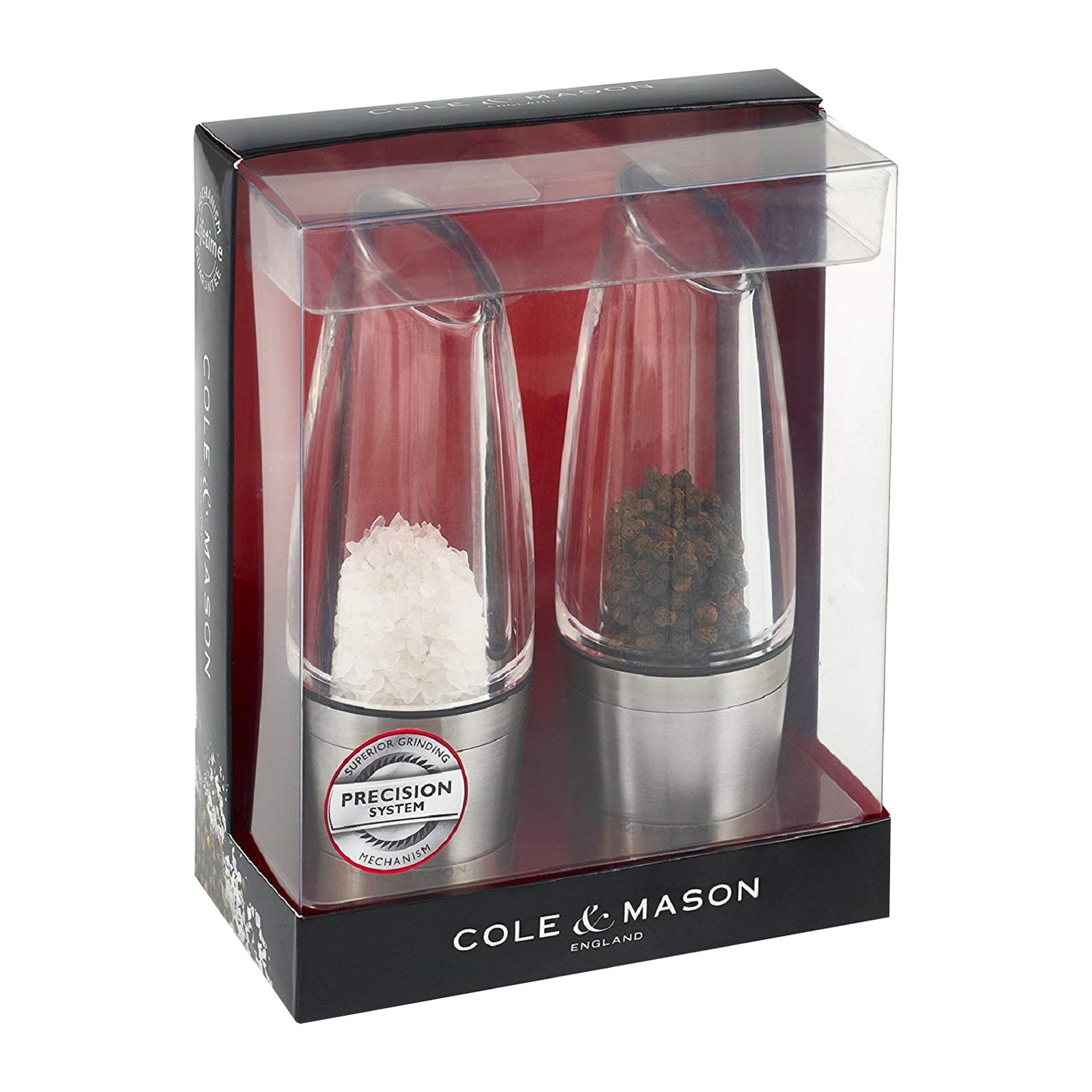 Cole & Mason Stainless Steel Milston Stemless Frosted Precision Salt And Pepper Mill Gift Set