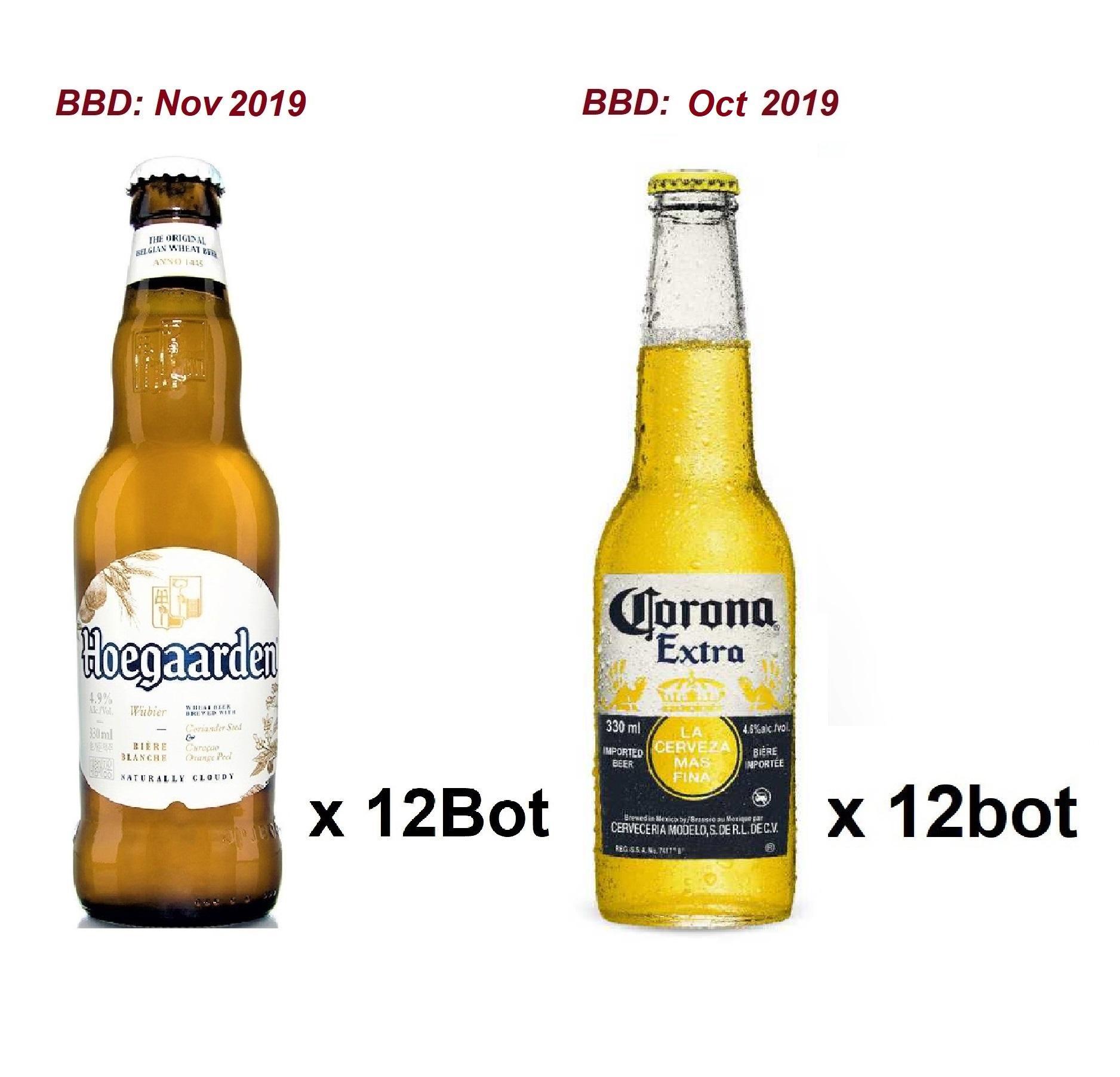 Corona Extra 12x355ml + Hoegaarden White 12x330ml (fresh Stock) By Newcastle Drinks.