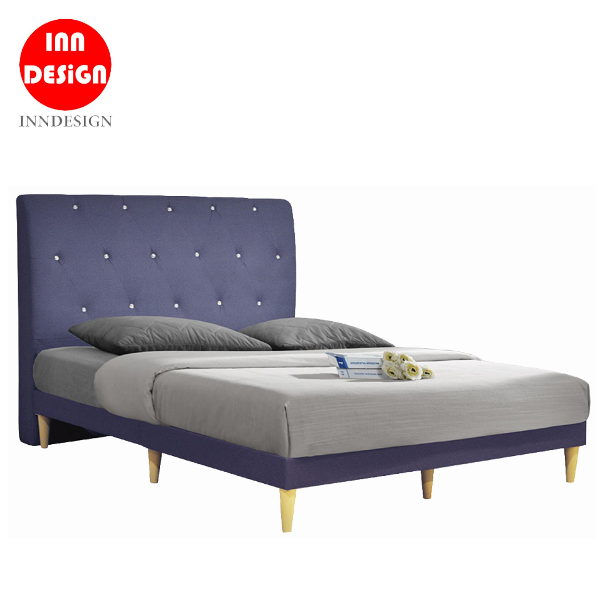 Eme D Fabric Divan BedFrame With Wooded Leg (22 Colours) (All Size Available)
