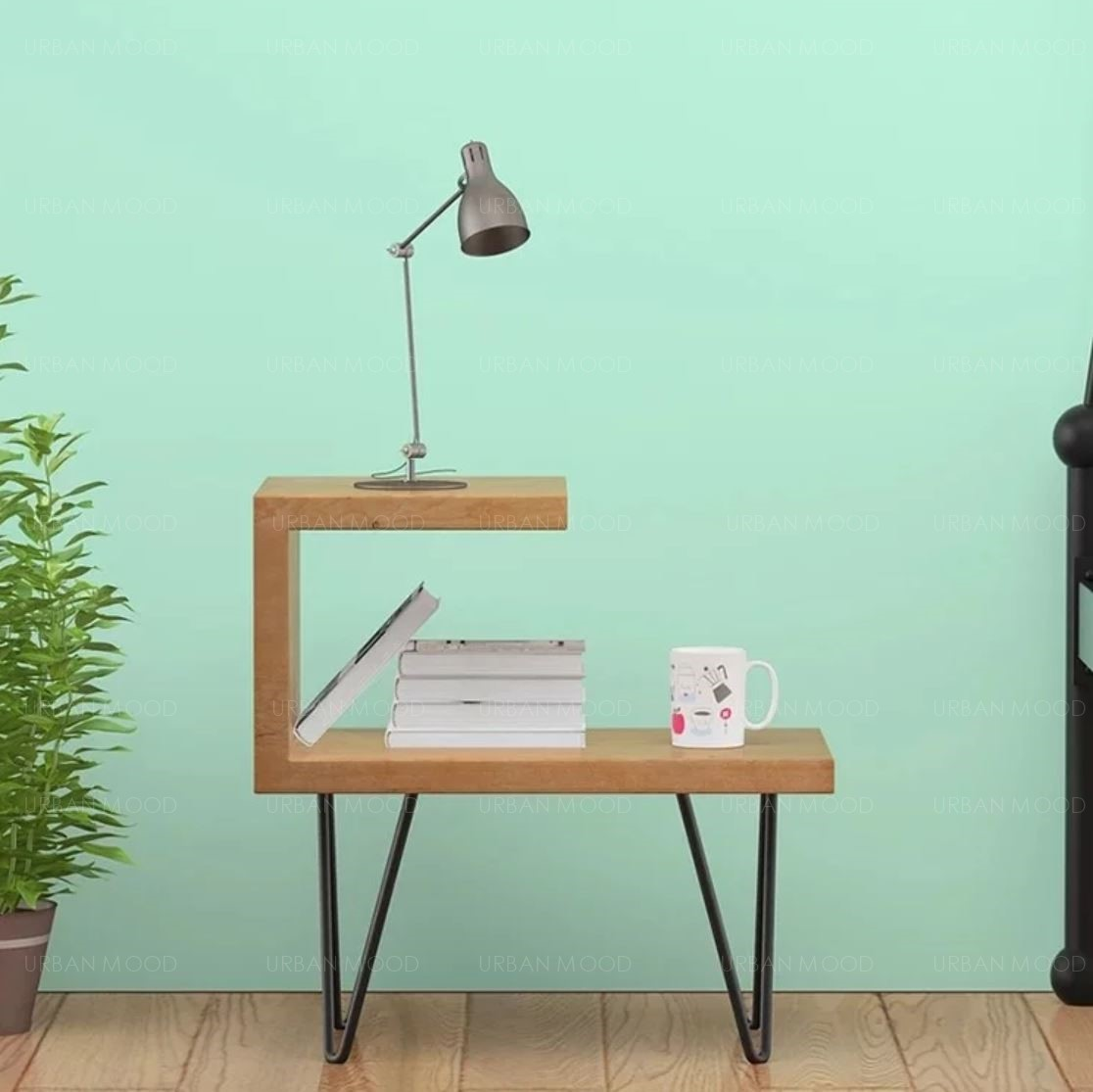 CORA Modern Industrial Solid Wood Bedside Table