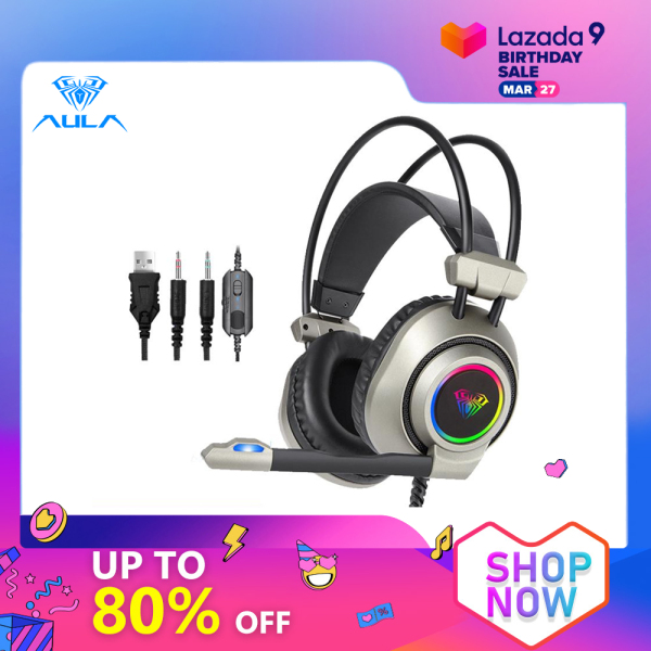 AULA S600 Gaming Headset Deep Bass Computer Headphone With Microphone LED Lighting Effect And Stereo Sound Close Earmuffs