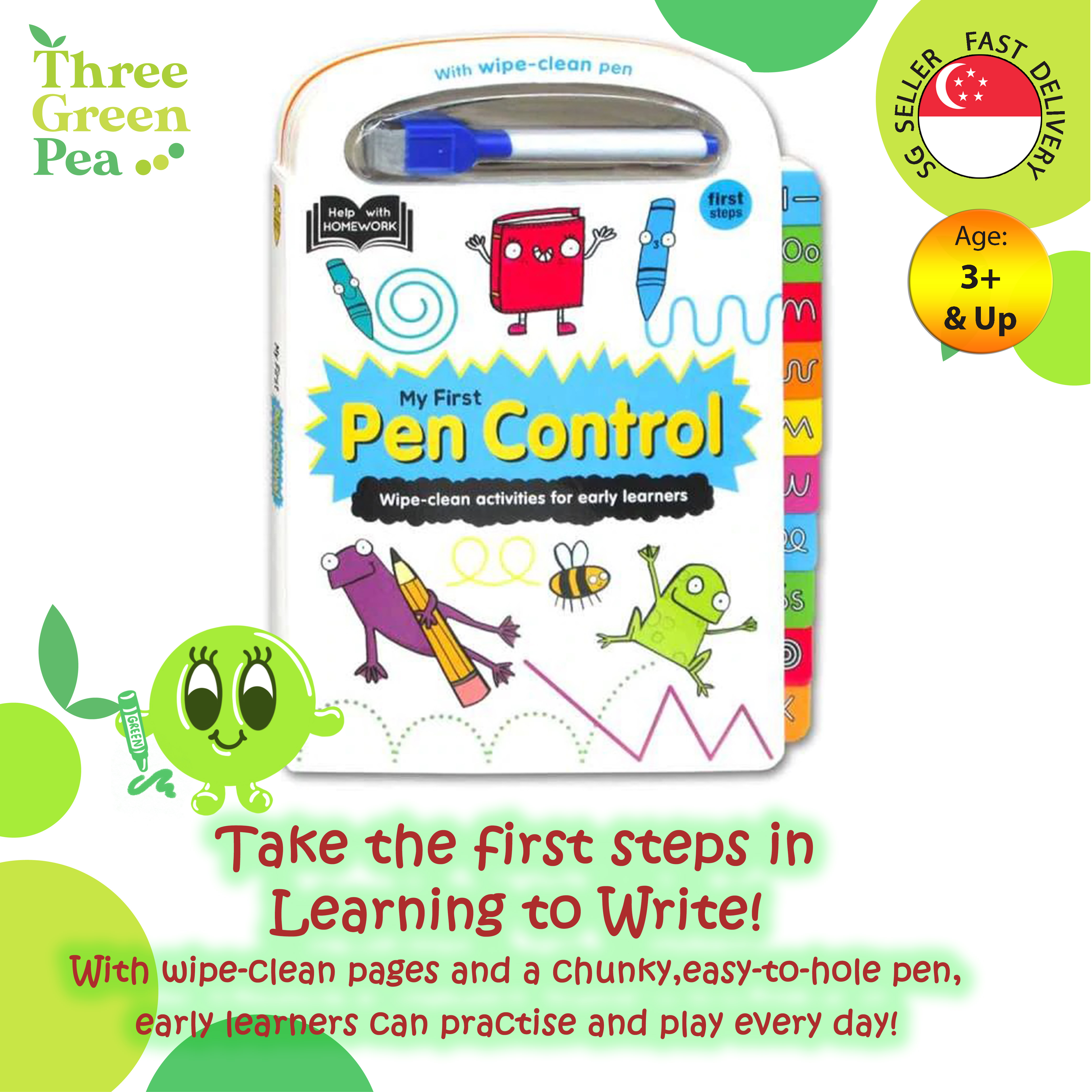 My First Pen Control - Tabbed Wipe Clean Activity Books For Age 3 and above Children Books 20 pages Board Book