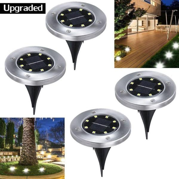 8 LED Solar Garden Outdoor In-Ground Lights Lawn Pathway Pool Area Buried Lamps