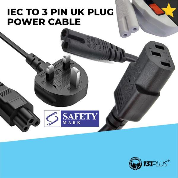 IEC to 3 Pin UK Plug Power Cable Cord C5 C7 C13 (Female, Straight) with Safety Mark