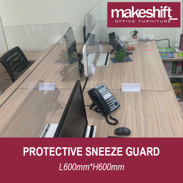 [READY STOCK IN SG] Protective Sneeze Guard L600mm*H600mm – Safety Shield - Barrier Against Coughing & Sneezing (For Workstations, Restaurants, Doctors Office, TCM, Retail etc) Material: 4 mm Plexiglass