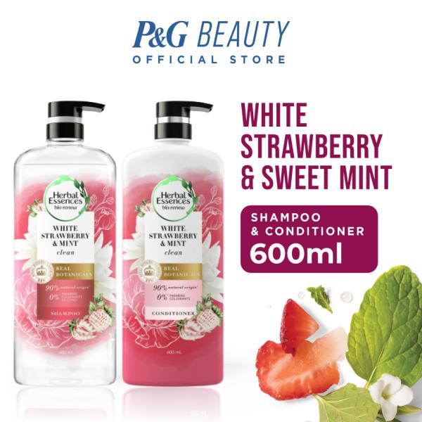 Buy [Bundle of 2] Herbal Essences Bio:renew White Strawberry & Sweet Mint Shampoo (600ml) & Conditioner (600ml) Singapore
