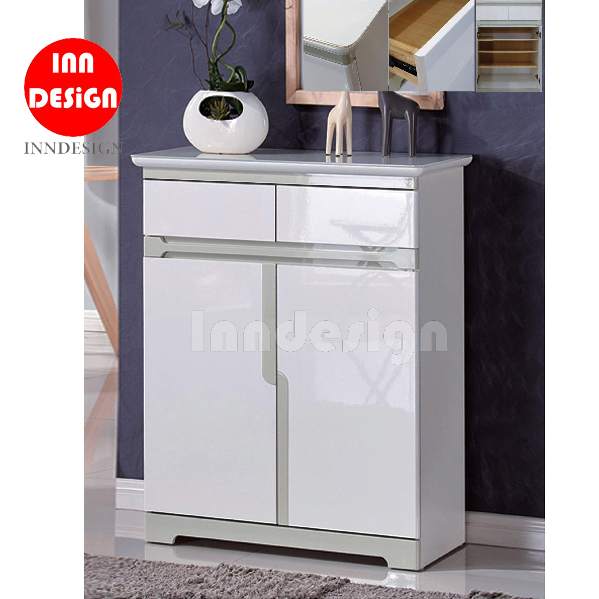 Ricky 2 Doors Shoe Cabinet with 2 Drawers and Glass Top