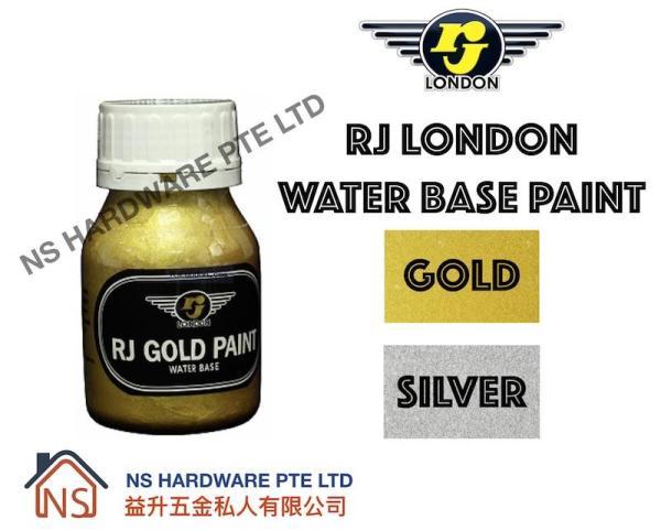 RJ LONDON WATER BASE PAINT 250G / GOLD PAINT / SILVER PAINT / WOOD AND METAL PAINT