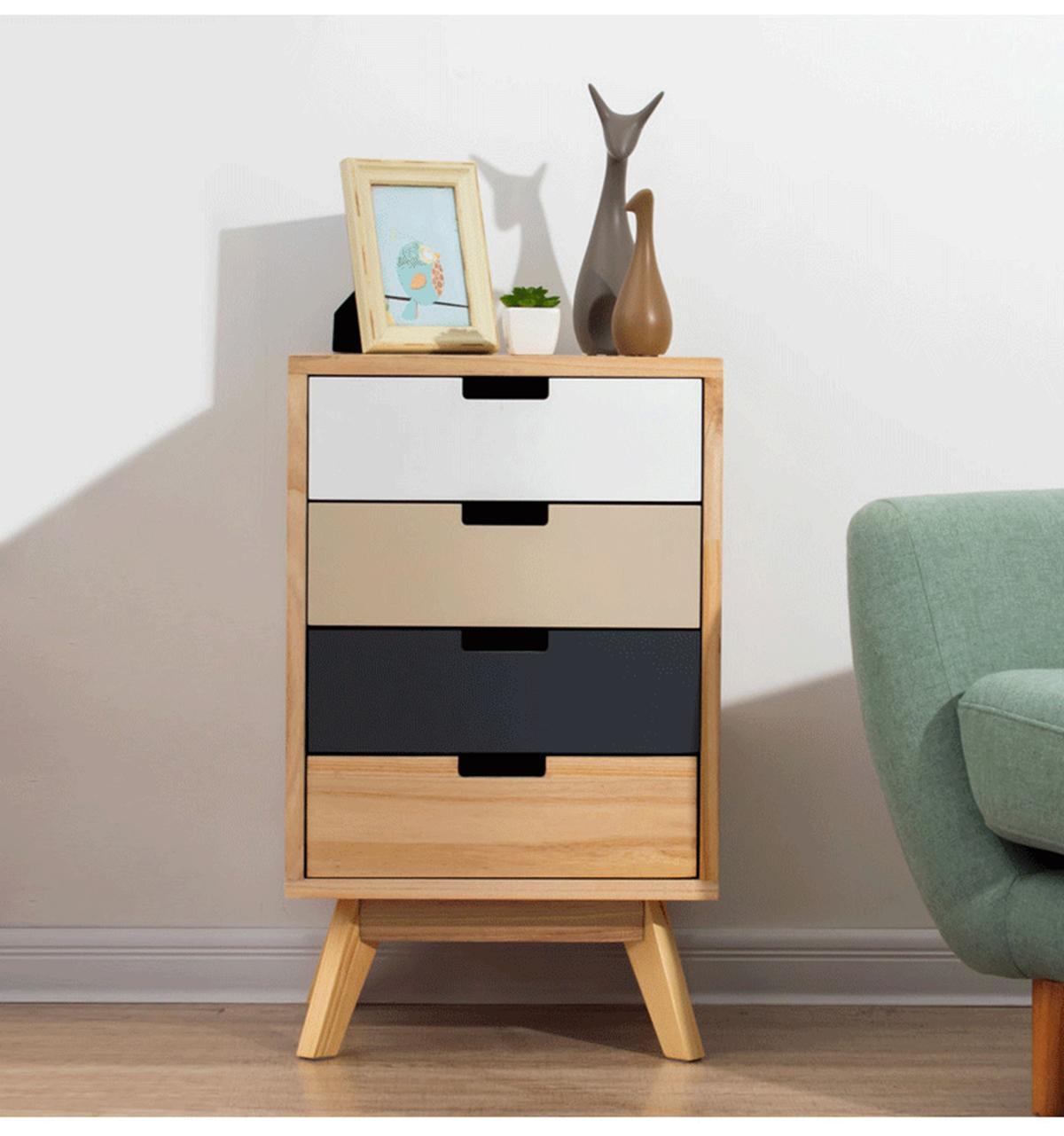 Solid Wood Bucket Cabinet Bedroom Bedside Table Cabinet Modern Drawer Storage