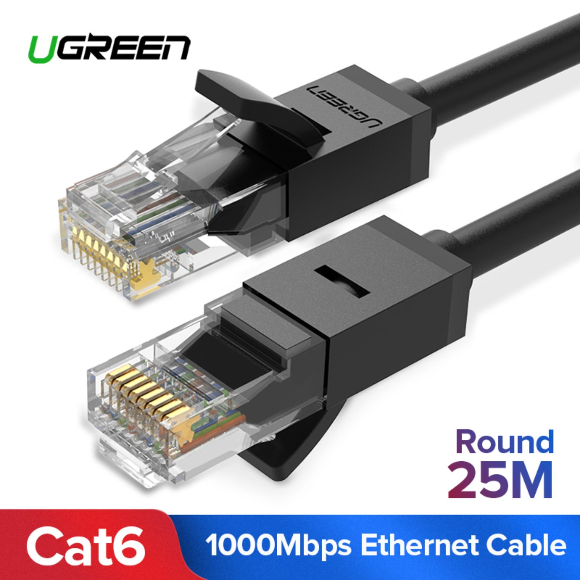 UGREEN 25Meter Cat6 Ethernet Patch Cable Gigabit RJ45 Network Wire Lan Cable Plug Connector for Mac, Computer, PC, Router, Modem, Printer, XBOX, PS4, PS3, PSP (Black)-Intl