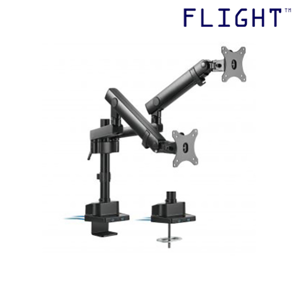 [HOT SELLING] LCD Monitor Arm, Dynamic Spring Mechanism and Non-Gas Spring, International Vesa Compatible, 0-8kg, Cable Management Included, 180 Degree Monitor Rotation - L2-202UD - Flight