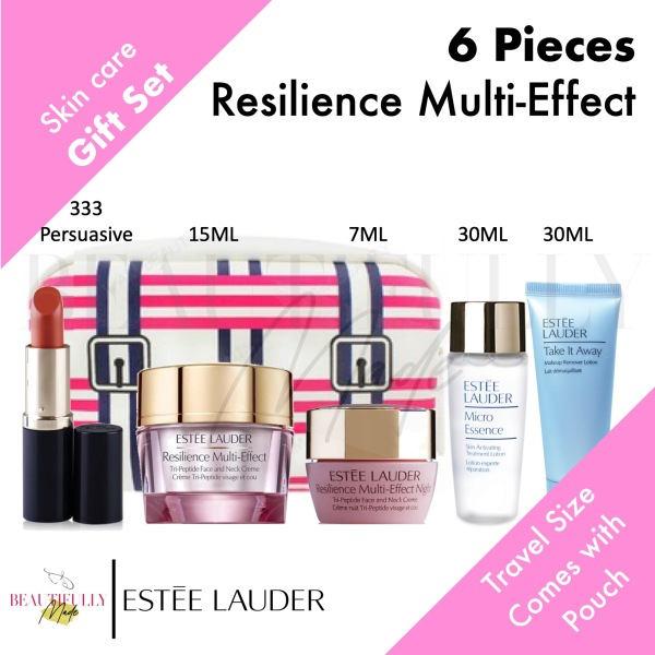 Buy Estee Lauder 6-Piece Gift Set - Resilience Multi-Effect Tri-Peptide Face and Neck Creme 15ml + Night 7ml + Take It Away 30ml + Micro Essence 30ml + Pure Color Envy Matte Lipstick 333 Persuasive Singapore
