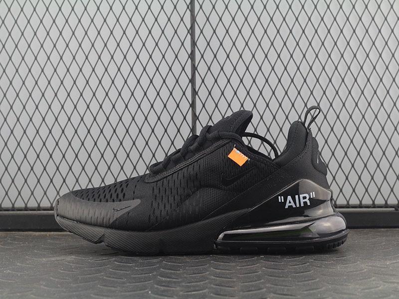 Promosi Loss Custom Off-White x Nike_Air Max 270 Hitam Men / Wowen Unisex Mode Sepatu Lari Olahraga / Sneaker