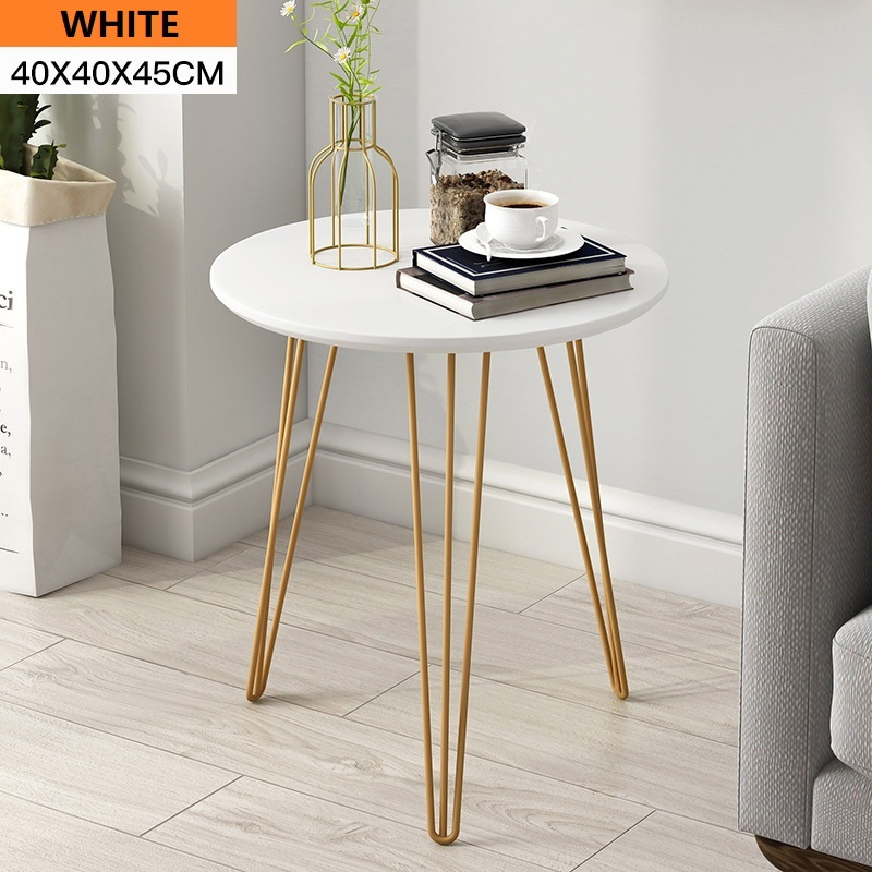 Wooden Surface Metal Legs Round Side Table Coffee Table Living Room Furniture