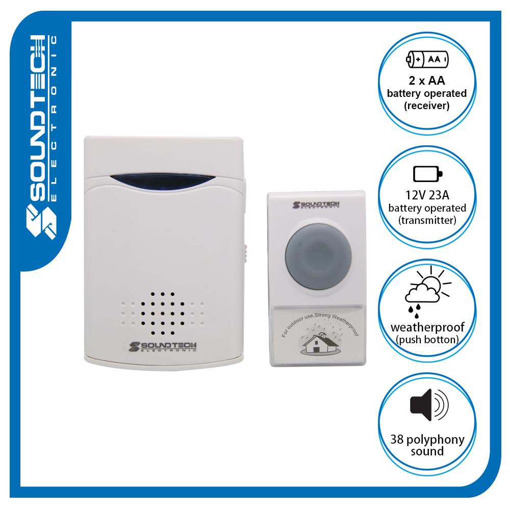 Soundteoh Wireless Digital Doorbell 069k (battery Operated).