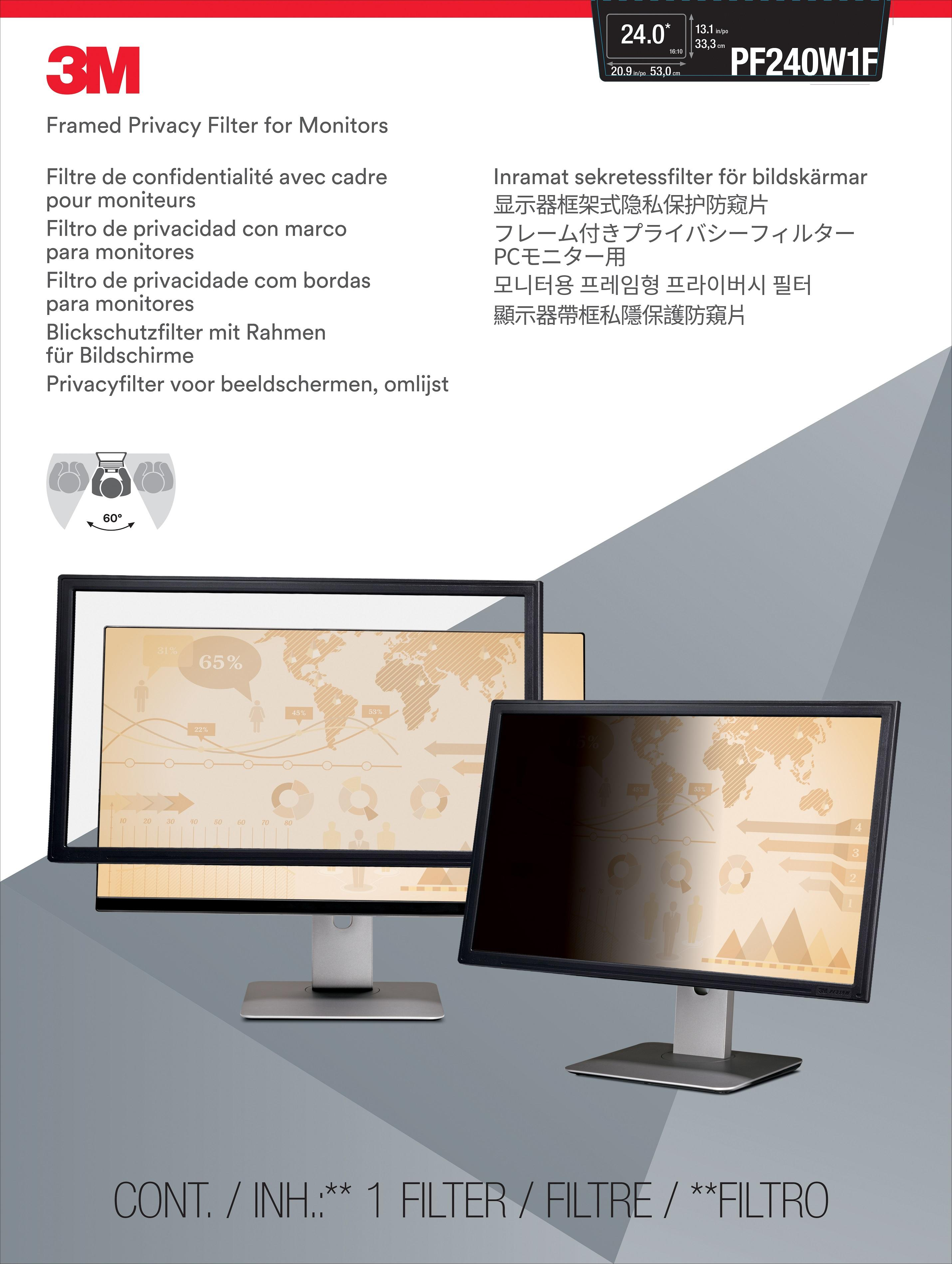 3M™ Framed Privacy Filter for 24-inch Widescreen (16:10) Monitor (PF240W1F) - 530 mm (W) x 333 mm (H)