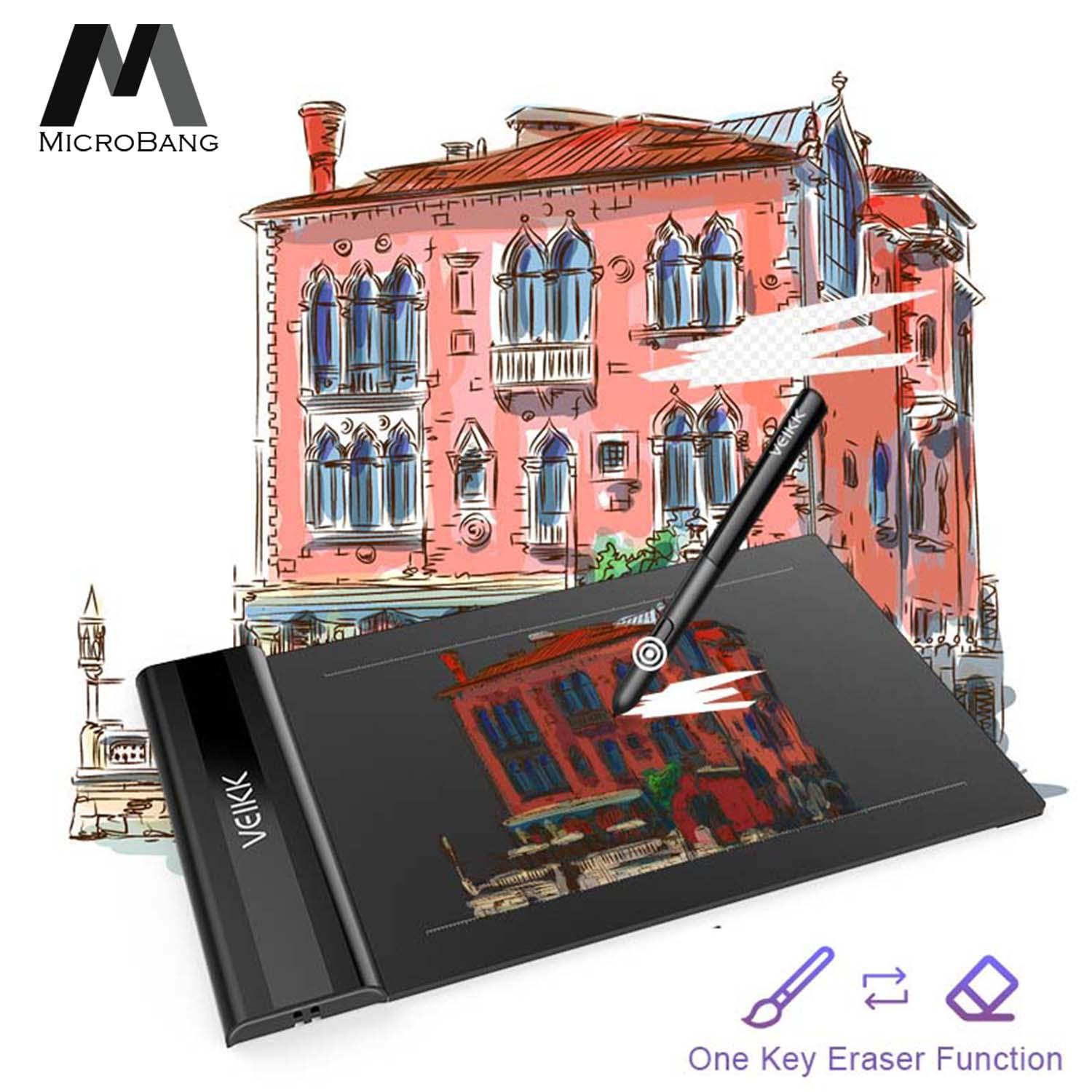 MicroBang USB Drawing Writing Art Graphics Board Tablet Digital Drawing Pen Tablet S640 Ultra-thin 6x4 Inch with 8192 Levels Passive Pen
