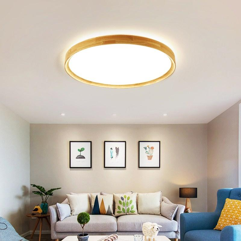 12W Wood Super Slim LED Ceiling Light, Triple color by on/off switch.