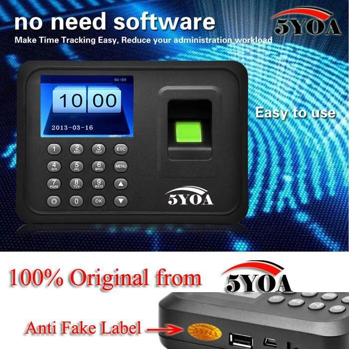 Intelligent Biometric Fingerprint Time Attendance System Employee Checking-in Recorder 2.4 inch TFT LCD Screen DC 5V Time Attendance Clock EU