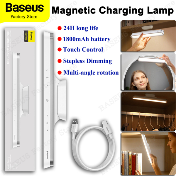 Baseus Magnetic Stepless Dimming Charging Desk Lamp Pro Rotatable Soft Light Easy To Install Eye Protective Dual Modes Adjustable Light Angles for Wardrobe