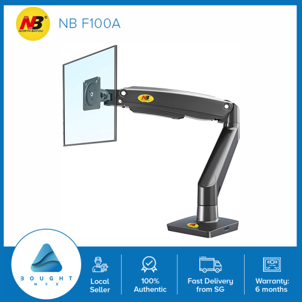 NB North Bayou F100A Monitor Arm Desk Mount Ultra Wide Full Motion Swivel Long Arm with Gas Spring for 22-35Monitors from 3kg to 12.kg Height Adjustable Monitor Mount Stand F100A-B