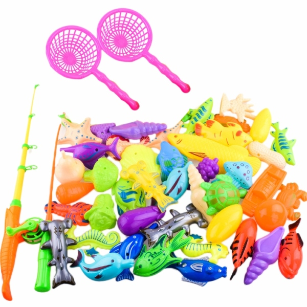 40Pcs/Set Childrens Magnetic Fishing Parent-Child Interactive Toys Game Kids 3D Fish Baby Bath Toys Outdoor Toy Singapore