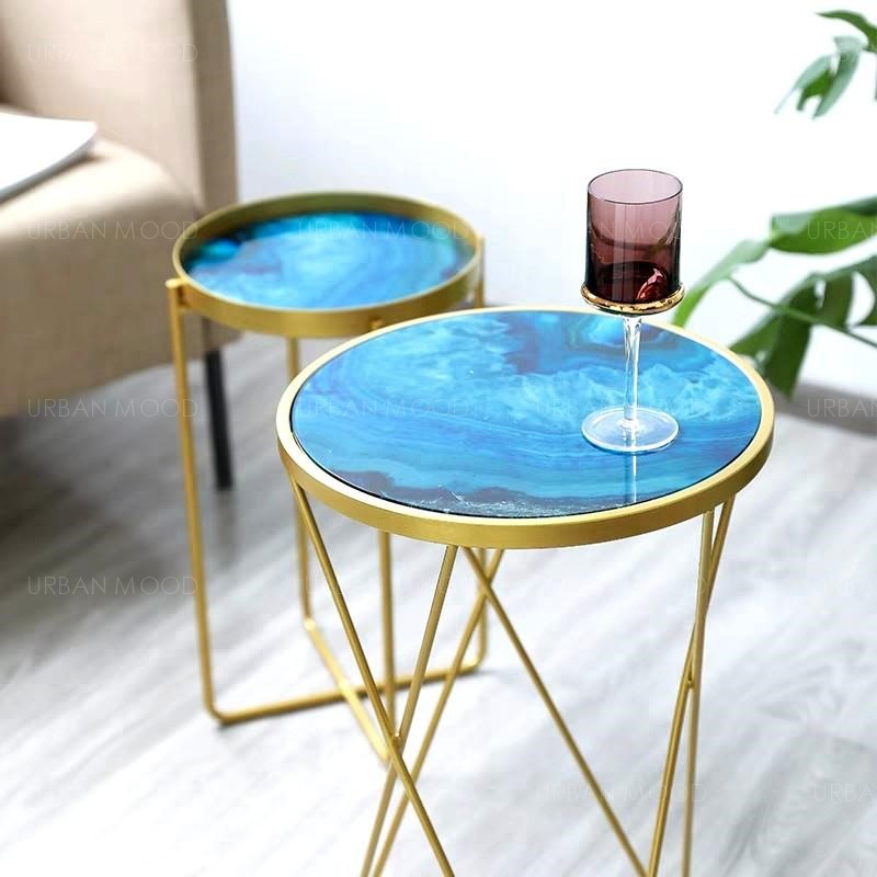 ERIE Epoxy River Gold Side Table