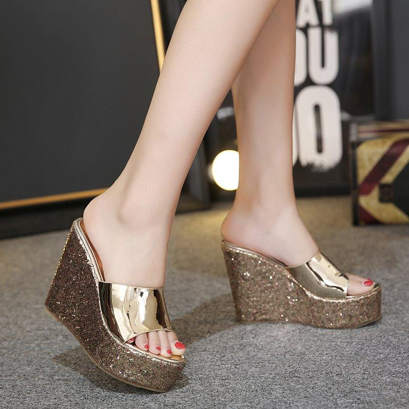 a8d501f1b1d Girl's Super High Heels Sandals 14 Cm Waterproof Platform Thick Bottomed  Open-toed Shoes Golden Sequin Muffin Women's Shoes Summer Wedge Heels