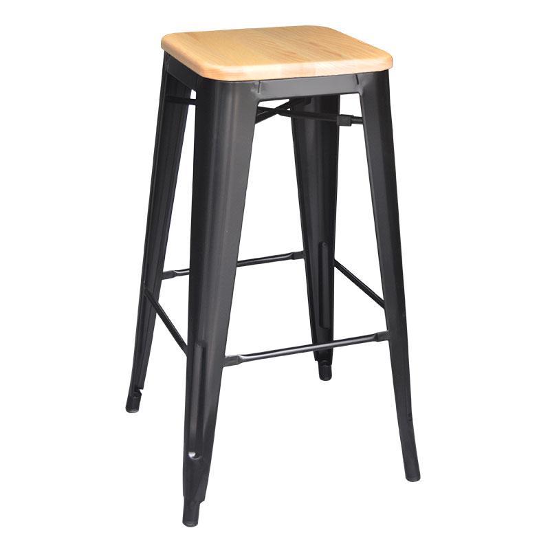 Tolix Bar Stool W Ash Wood Seat 76cm Height True Scandinavian Furniture