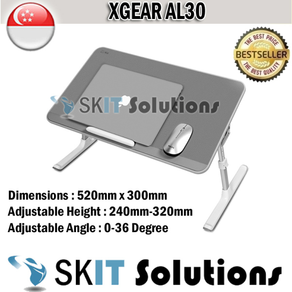 Xgear AL30 Foldable Portable Laptop Desk Table Adjustable Tray Bed Monitor Stand Holder