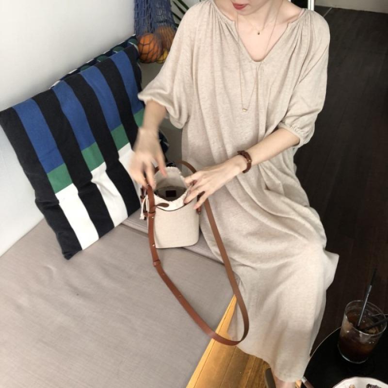 Mùa Hè Hàn Quốc CHIC Phong Cách Retro Ins Lười Biếng Khí Chất Phong Cách Kỳ Nghỉ Cổ Chữ V Dáng Suông Rộng Đầm Qua Đầu Gối Váy Dài
