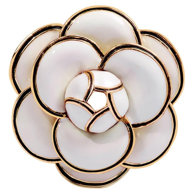cd7836696 Enamel Camellia Flowers Channel Jewelry Brooches Broaches For Women Sweater Dress  Lapel Pins Accessaries For Clothes