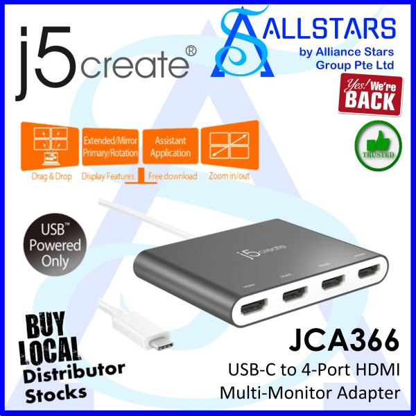 (ALLSTARS : We are Back / Dock PROMO) J5Create JCA366 (USB-C to 4Port HDMI Multi-Monitor Adapter) (Warranty 2years with Digital HUB)