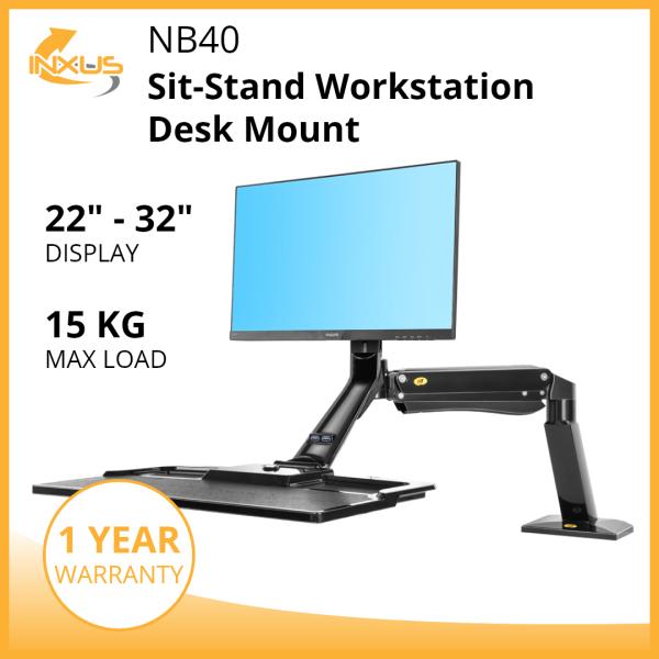 NB40 Sit Stand Workstation / Monitor Arm Bracket / Single Monitor Desk Mount / Keyboard Tray / International Vesa Compatible