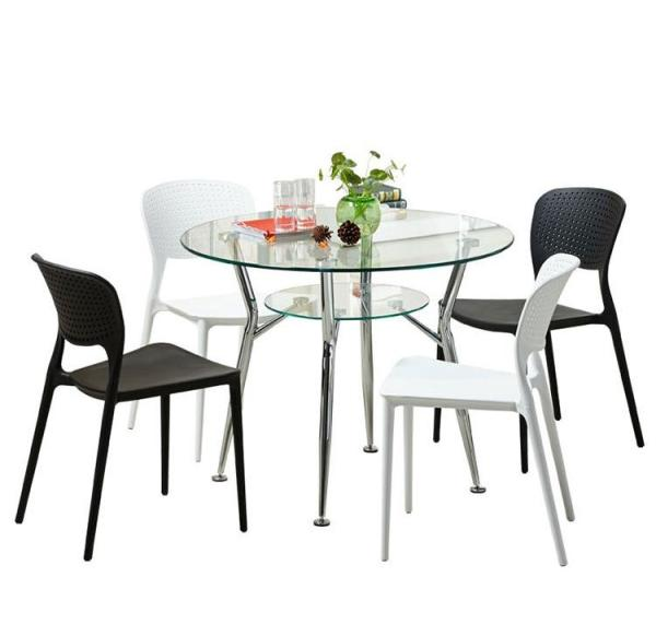 [A-STAR] Round Glass Top Dining Table Office Metal Legs (FREE INSTALL)
