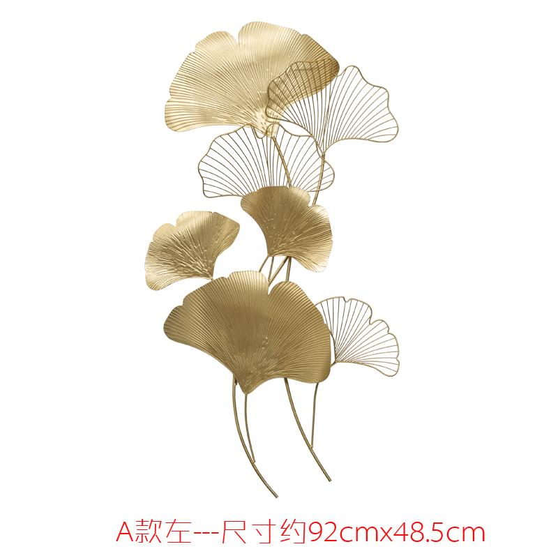 Modern Chinese Style Iron Art Pendant Wall Decoration Living Room Wall Entrance Metal Mural Decoration Creative Ginkgo Leaf Wall Hangers