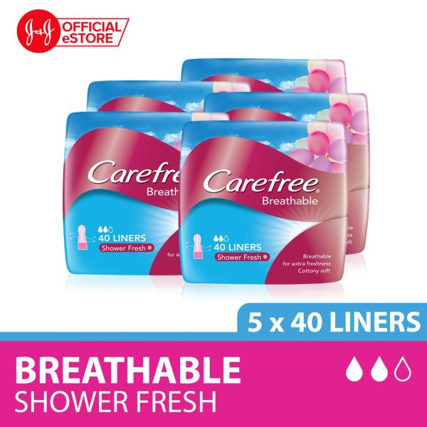 Buy Carefree Breathable Shower Fresh Panty Liners 40pcs x 5 Singapore