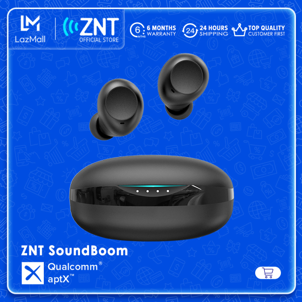 [NEW] ZNT SoundBoom Wireless EarBuds Qualcomm® aptX™ Earphones, Bluetooth 5.0, Superb Deep Bass, Smart Touch Control, IPX5 Waterproof, Up to 48H Playtime with Charging Case for Sport Singapore