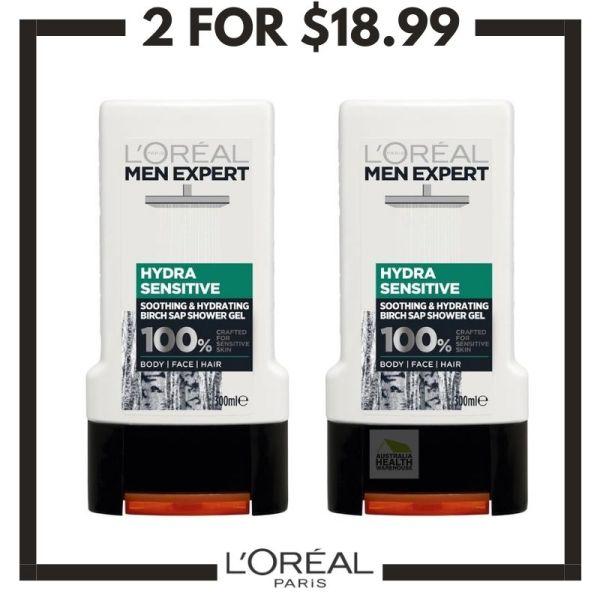Buy LOreal Men Expert Hydra Sensitive Shower Gel 300mL (2pcs) Singapore