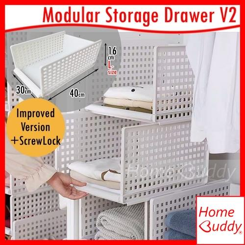 Storage Box_ Modular Storage Drawer Version2 [Improved Version with ScrewLock] [Modular Retractable Stackable]_ wardrobe organisers_ READY Stocks SG_ HomeBuddy_ Acev Pacific_