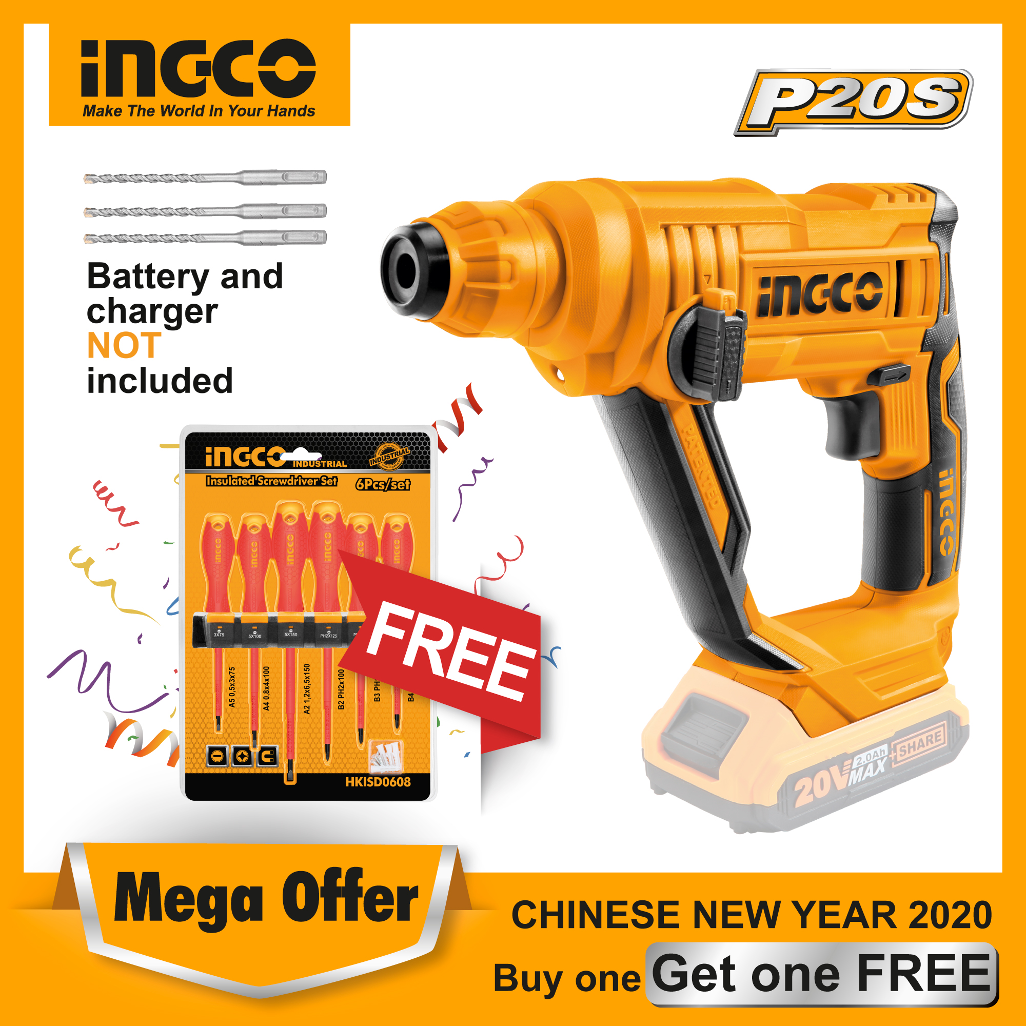 INGCO 20V Lithium-Ion Rotary Hammer Drill with 3pcs SDS-plus Drill Bits CRHLI1601 (Bare Unit)