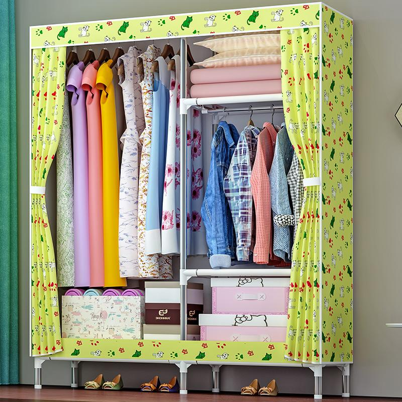 Shome nuo Oxford Cloth Simple Wardrobe Rough Steel Pipe 25MM Cloth Wardrobe Large Size bu yi chu Storage Cabinet