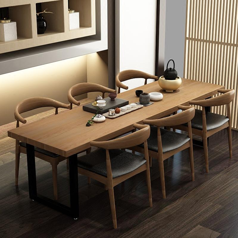 Modern Minimalist Living Room Multi-seat Eating Table Cafe Solid Wood Strip Dining Tables And Chairs Set Solid Wood Restaurant Furniture