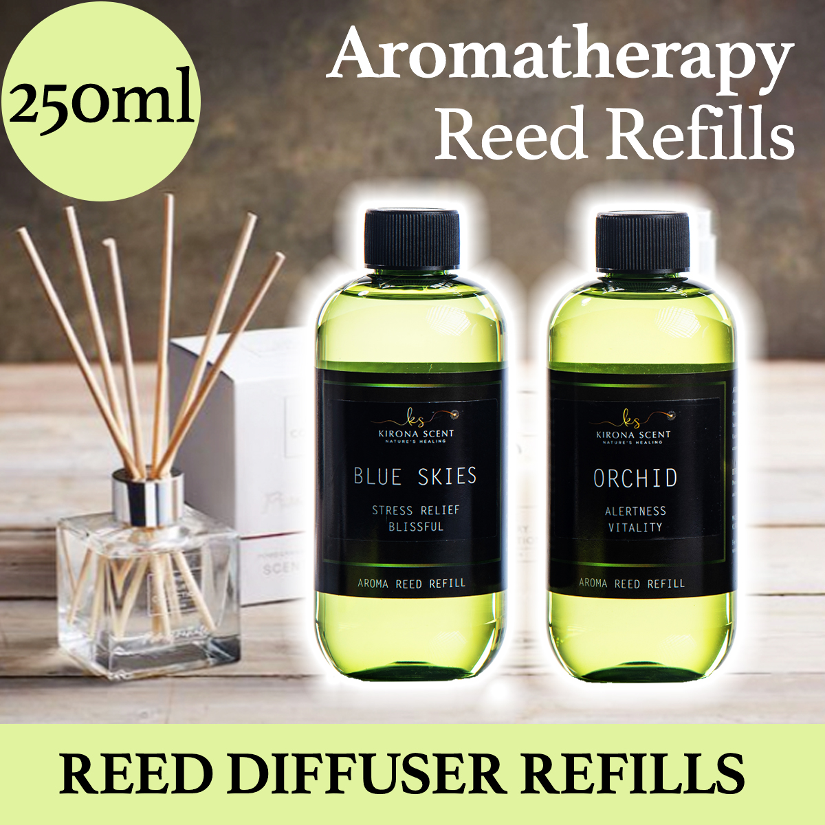 ★250ML AROMA REED REFILL★ ►FOR ALL AROMA REED DIFFUSERS◄ ★NATURAL BOTANICAL EXTRACTS★