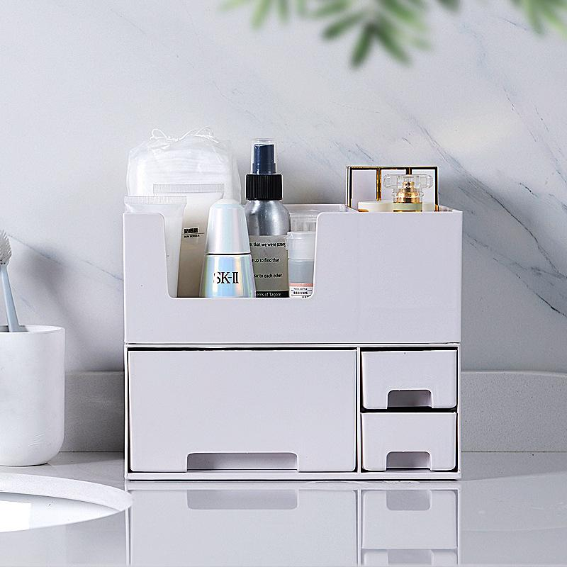 Cosmetic storage box home desktop sundries mask finishing jewelry drawer detachable finishing box white gray