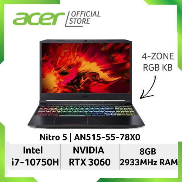 [READY STOCKS] [NVIDIA RTX 3060] Acer Nitro 5 AN515-55-78X0 15.6 Inches FHD IPS 144Hz Gaming Laptop | NVIDIA RTX 3060 | Intel Core i7-10750H Processor