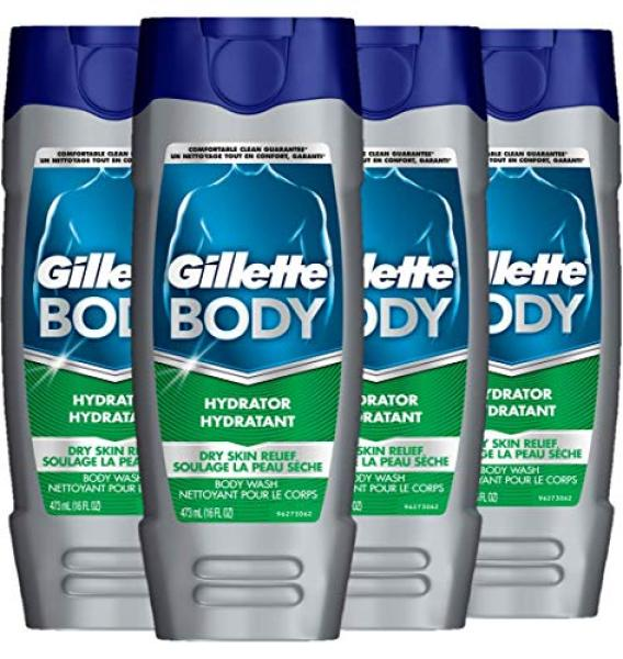 Buy (USA)Gillette Body Hydrator Body Wash for Men, Dry Skin Relief, 16 Fluid Ounce (Pack of 4) Singapore