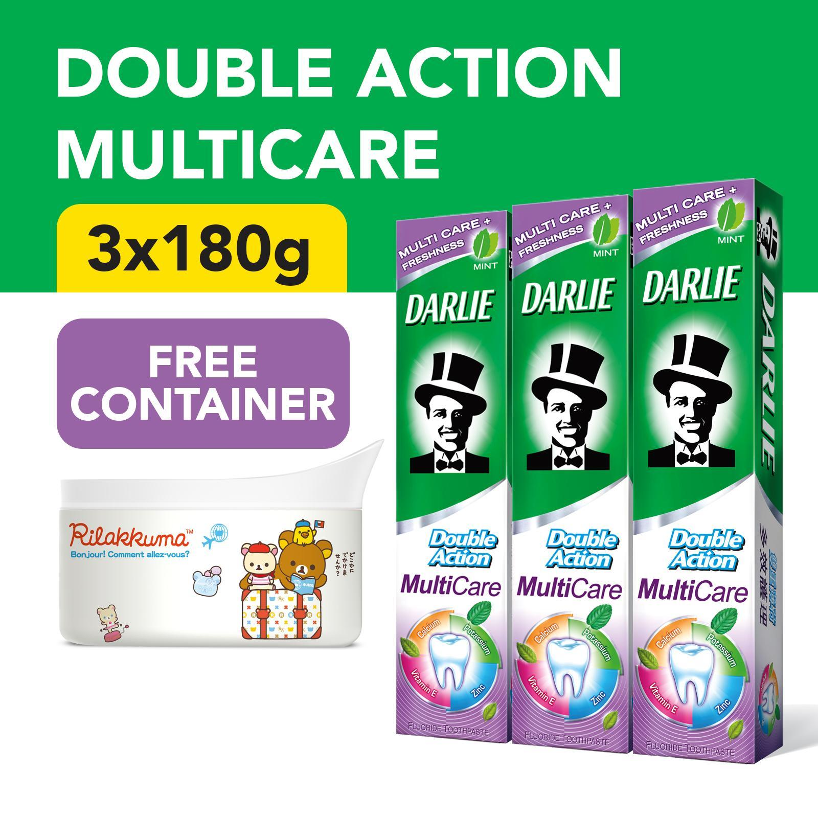Darlie Double Action - Multicare 3s Toothpaste + Free Rilakkuma Container