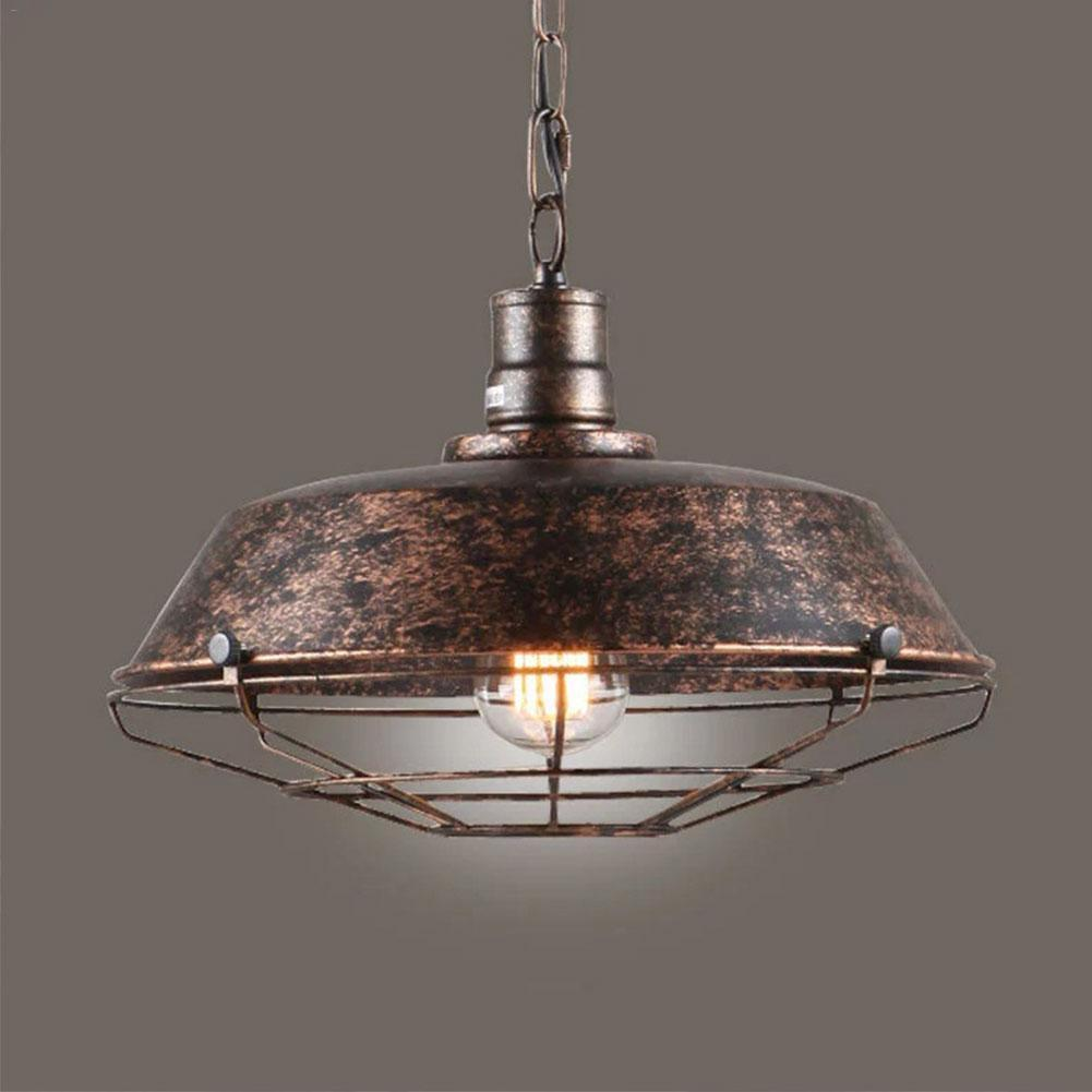E27 Retro Vintage Industrial Pendent Light Cage Wrought Iron Lamp Holder for Restaurant Bar Study Office