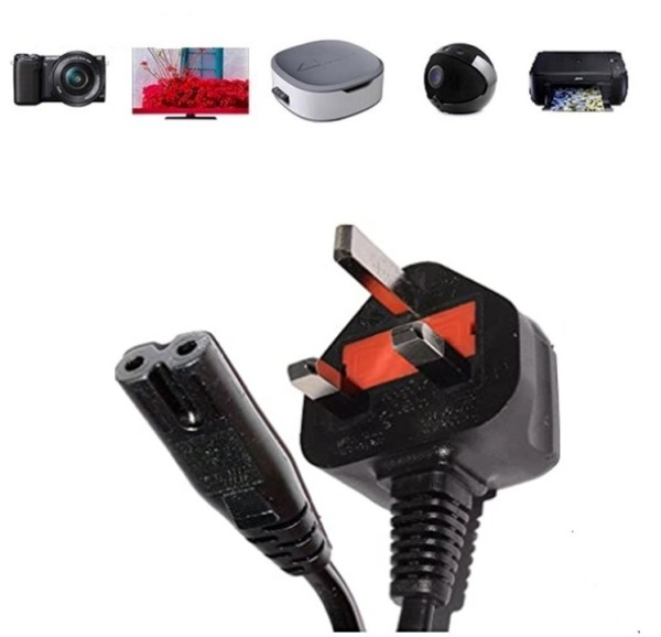 UK 2 Prong Power Cord (for all laptops, Xbox, PS4, Monitors, DVD Players, Printers etc)